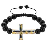 Bracelets - iced out classic black crystal sideways cross macrame adjustable lace bracelet Image.