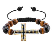Man's Jewelry - clear white black crystal sideways cross bracelet brown yellow beads horizontal adjustable shamballa bracelet Image.