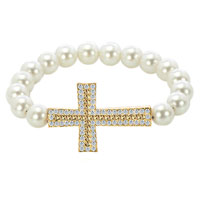 Bracelets - white pearls topaz yellow and clear white crystal sideways cross shamballa beaded stretch lace bracelet Image.