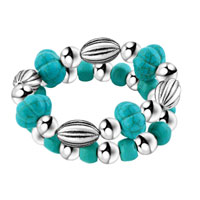 New Year Deals - bling jewelry silver beads fashion turquoise double strand bracelet Image.