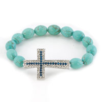 New Year Deals - sapphire blue clear white crystal sideways iced cross turquoise shamballa beaded stretch lace bracelet Image.