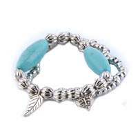New Year Deals - bling jewelry silver beads dangle heart love leaf turquoise chunky bracelet Image.