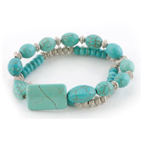 New Year Deals - bling jewelry silver beads different turquoise double strand bracelet Image.