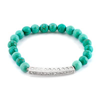New Year Deals - clear white crystal design bling jewelry turquoise shamballa beaded stretch lace bracelet Image.