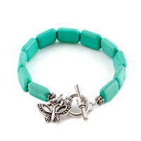 New Year Deals - jewelry butterfly dangle fashion rectangle turquoise toggle bracelet Image.