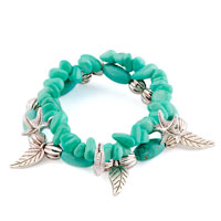 Bracelets - bling jewelry dangle starfish leaf silver beads chunky turquoise bracelet Image.