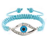 Bracelets - evil eyes bracelets clear white crystal hamsa hand evil eye aquamarine blue bracelets Image.