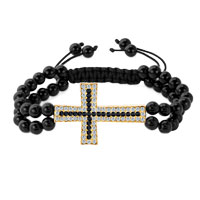 Man's Jewelry - pure black beads design clear white crystal sideways iced out cross adjustable bead lace bracelet Image.