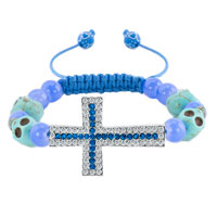Man's Jewelry - sapphire blue clear white crystal cross light skull purple beads lace adjustable bracelet Image.