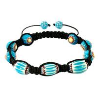 Bracelets - shamballa bracelet fad macrame bling jewelry blue sunflower beads bracelets Image.
