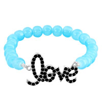 Bracelets - aquamarine blue sideways iced out black rhinestones love beaded stretch bracelet Image.