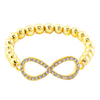 Bracelets - infinity bracelet 18 k gold plated sideways iced out clear white Image.