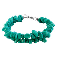 New Year Deals - chip stone bracelets genuine turquoise gemstone nugget chips chunky stretch bracelet for women Image.