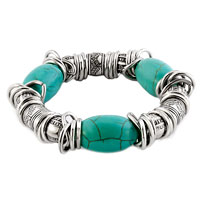 New Year Deals - genuine turquoise gemstone chips rings charm beads chunky bracelet Image.