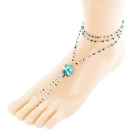 New Year Deals - various aquamarine blue sandals beach and pool anklets ankle bracelet Image.