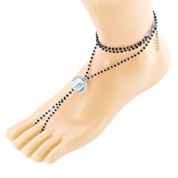 Bracelets - multicolor swarovski element crystals accented with aquamarine blue bead barefoot sandals beach and pool anklets bracelet Image.