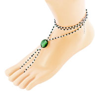 Bracelets - multicolor swarovski element crystals accented with peridot green bead barefoot sandals beach and pool anklets bracelet Image.