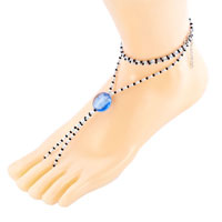 Bracelets - multicolor swarovski element crystals accented with sapphire blue bead barefoot sandals beach and pool anklets bracelet Image.