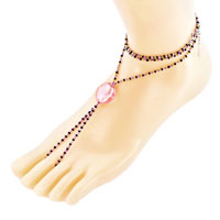 Bracelets - multicolor swarovski element crystals accented with rose pink bead barefoot sandals beach and pool anklets bracelet Image.