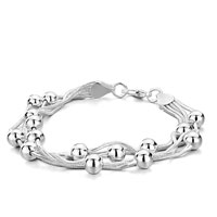 Bracelets - hot strand chain round little beads silver bracelet for women Image.