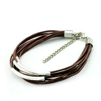 Man's Jewelry - brown leather dangle european beads fit all brands Image.