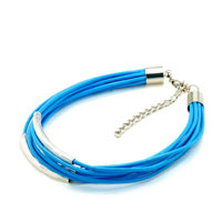 Man's Jewelry - aquamarine blue leather dangle european beads fit all brands Image.