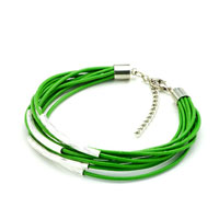 Man's Jewelry - peridot green leather dangle european beads fit all brands Image.