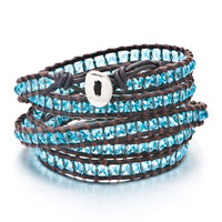 New Year Deals - sapphire stone wrap bracelet on handmade brown leather for women Image.