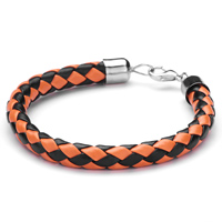 Man's Jewelry - mothers day gifts orange black woven leather bracelet Image.