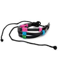 Bracelets - pink blue green items on multistrand leather bracelet adjustable Image.