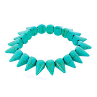 New Year Deals - genuine turquoise gemstone chips chunky stretch bracelet Image.