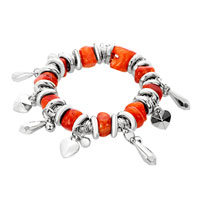 New Year Deals - orange howlite turquoise chips heart love charm beads chunky stretch bracelet Image.