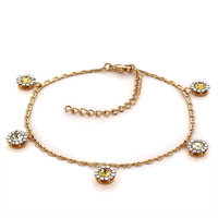 Bracelets - simple crystal flower dangle 14 k gold plated crystal ankle bracelet Image.