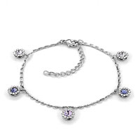 Bracelets - february birthstone amethyst crystal ankle adjustable bracelet Image.