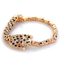 Bracelets - golden tiger swarovski elements crystal adjustable lobster clasp bracelet for women Image.