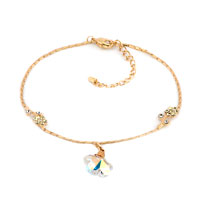 Bracelets - clear white yellow crystal 18 k gold plated flowers anklet adjustable bracelet Image.