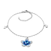 New Year Deals - sapphire dangle beautiful flowers crystal ankle adjustable bracelet Image.