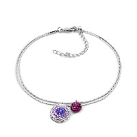 New Year Deals - amethyst purple dangle beautiful flower crystal ankle adjustable bracelet Image.