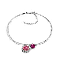New Year Deals - rose pink dangle flower crystal anklet adjustable lobster clasp bracelet Image.
