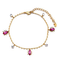 Bracelets - golden chain beetle october birthstone crystal round ankle bracelet Image.