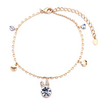 Bracelets - golden chain dangle metal round bunny head april birthstone clear swarovski crystal ankle bracelet anklet lobster clasp Image.