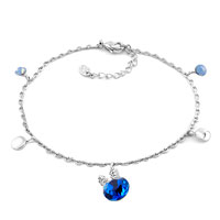 Bracelets - silver tone link dangle sapphire blue long ears rabbit swarovski elements crystal ankle adjustable bracelet anklet lobster clasp Image.