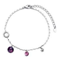 Bracelets - silver/ p chain february birthstone amethyst crystal round anklet bracelet Image.