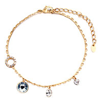 Bracelets - golden chain dangle different sized april birthstone clear swarovski crystal round ankle bra bracelet Image.