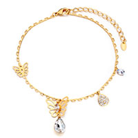 Theme Jewelry - golden chain butterfly april birthstone crystal anklet lobster clasp bracelet Image.
