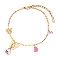 Bracelets - golden chain dangle butterfly crystal birthstone pink crysal drop bracelet Image.