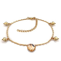 Bracelets - gold plated heart golden swarovski elements crystal ankle adjustable bracelet anklet lobster clasp Image.