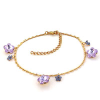 Bracelets - amethyst purple crystal ankle adjustable bracelet lobster clasp Image.