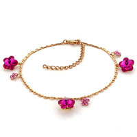 Bracelets - rose pink crystal golden ankle adjustable bracelet lobster clasp Image.