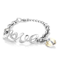 New Year Deals - love swarovski elements crystal adjustable lobster clasp bracelet women Image.